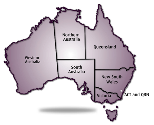 maps of australia with states. A map of Australia showing the